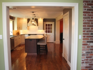 View of newly remodeled kitchen from another room