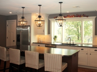 Interior of kitchen after remodeling with new fixtures and counters